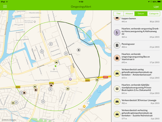 Overzichtelijke weergave van bestemmingsplanwijzigingen in omgevingsalert apps door koppeling met ruimtelijke plannen